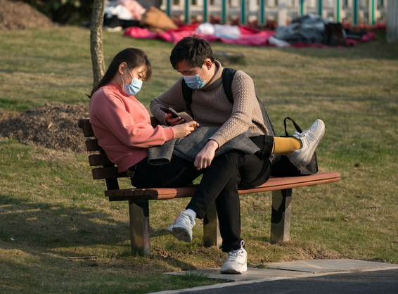 couple in park during coronavirus